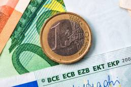Cédito consolidado. Moedas do Euro. Notas do Euros.